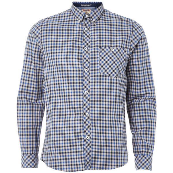 Tokyo Laundry Men's Montpellier Checked Long Sleeve Shirt - Monaco Blue