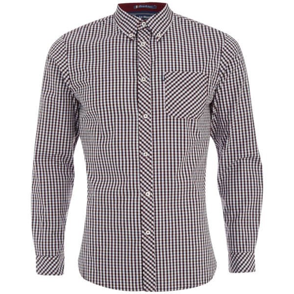 Le Shark Men's Pembridge Gingham Long Sleeve Shirt - Oxblood