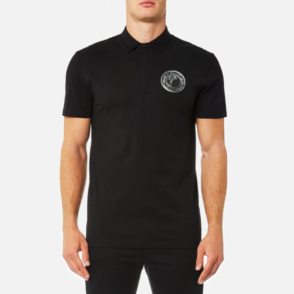 Versace Collection Men's Round Logo Polo Shirt - Nero