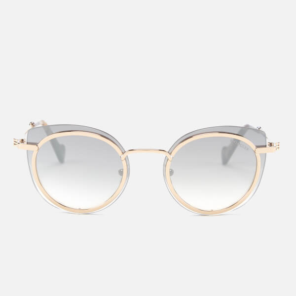 Moncler Women's Oval Sunglasses - Rose Gold/Smoke Mirror