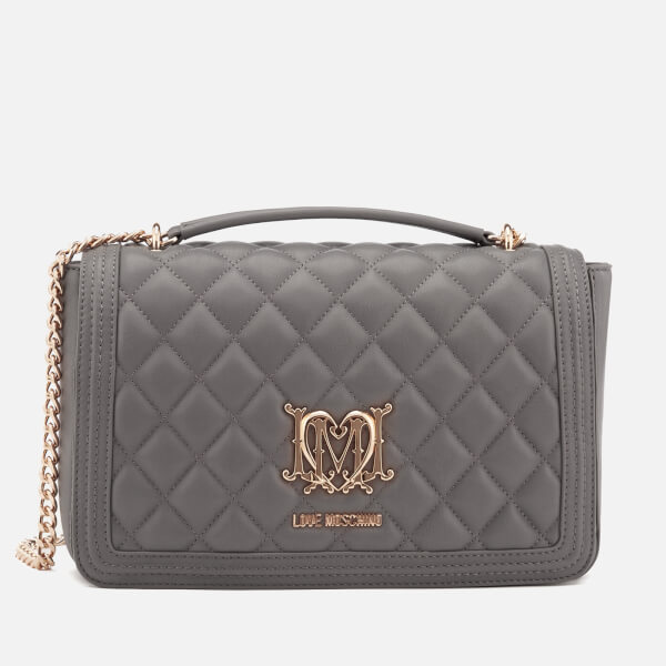 ade414f6ff03 Love Moschino Women s Quilted Shoulder Bag - Grey  Image 1