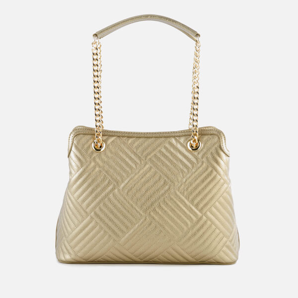 f52a3203f9 Love Moschino Women s Shiny Quilted Metallic Chain Tote Bag - Gold  Image 2