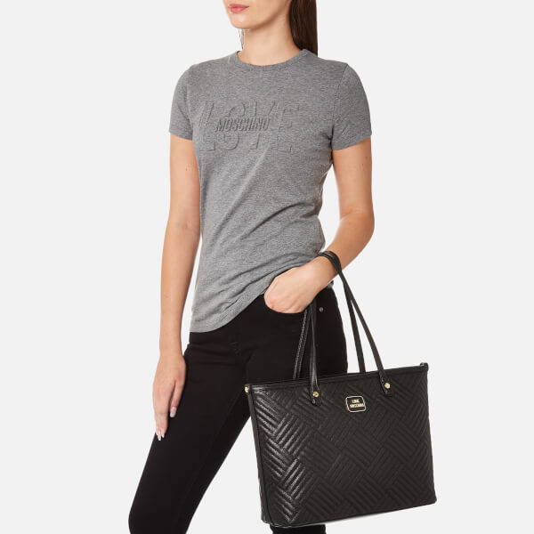 Love Moschino Womens Shiny Quilted Tote Bag Black