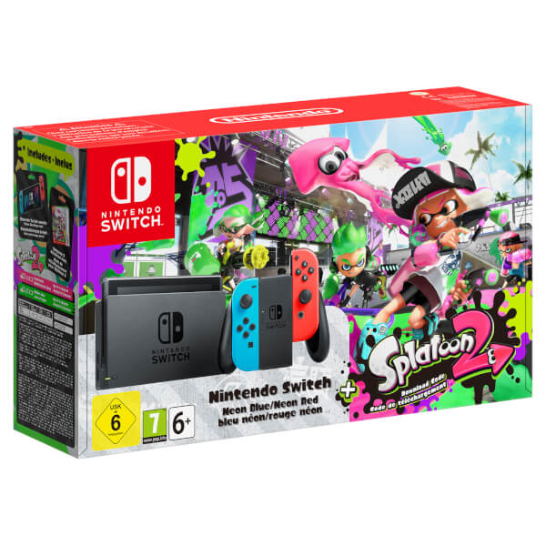 Nintendo Switch with Neon Blue / Neon Red Joy-Con Controllers + Splatoon 2 Limited Edition