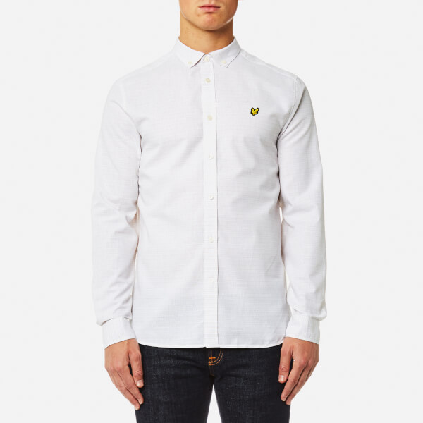 Lyle & Scott Men's Multi-Coloured Running Stitch Shirt - White