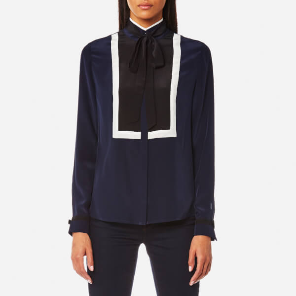 Karl Lagerfeld Women's Silk Colour Block Blouse - Peacoat