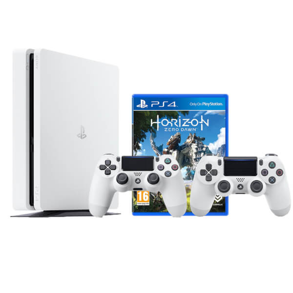 Sony PlayStation 4 Slim 500GB White with DualShock 4 V2 and Horizon Zero Dawn