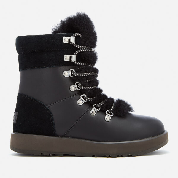 ugg womens viki waterproof leather lace up boots black