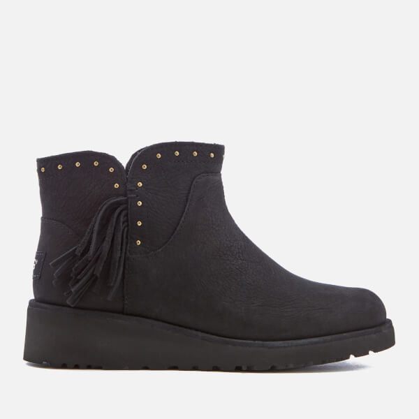 UGG Women's Cindy Leather Tassle Ankle Boots - Black