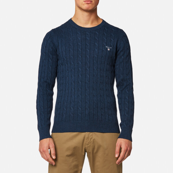 GANT Men's Cotton Cable Knitted Jumper - Dark Jeans Blue Melange