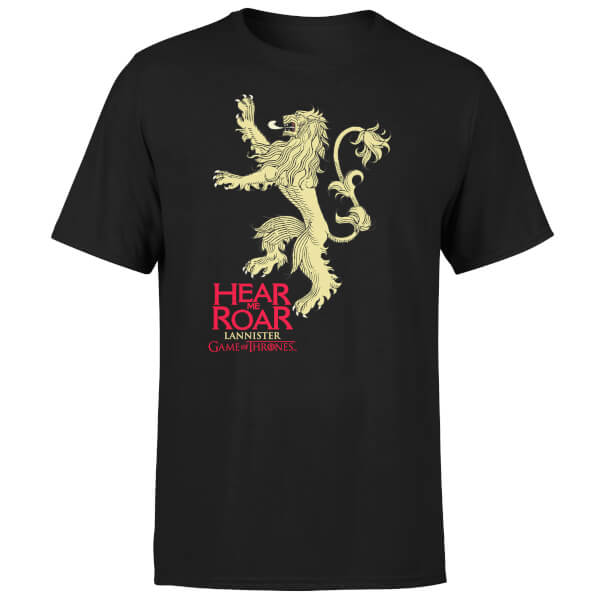 Game of Thrones Lannister Hear Me Roar Men's Black T-Shirt