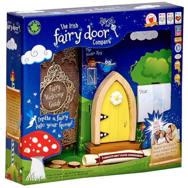 The Irish Fairy Door Company Arched Fairy Door - Yellow (Slim)