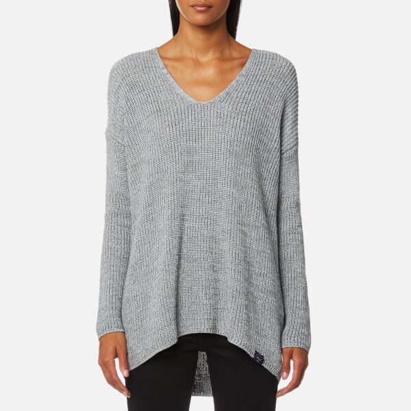 Superdry Women s Almeta V-Neck Knitted Jumper - Grey Ice Womens ... a3329564bc40