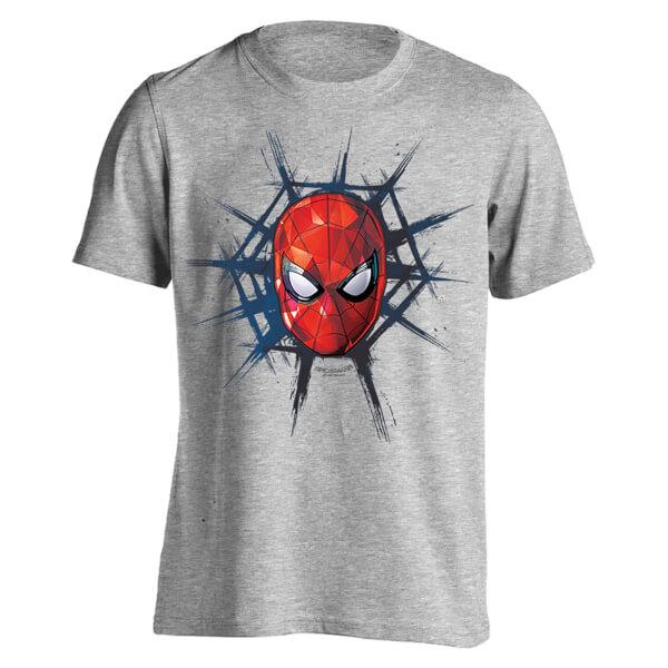 Marvel Spider-Man Men's Spider Web T-Shirt - Light Grey Marl