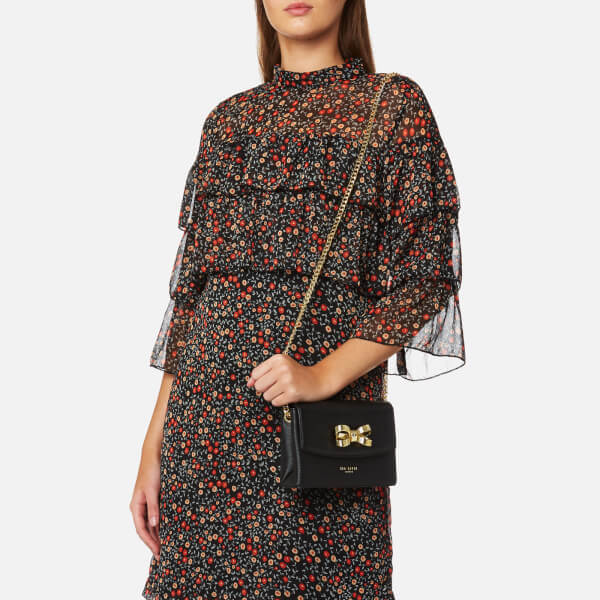 84841b69fefde Ted Baker Women s Leorr Looped Bow Mini Cross Body Bag - Black  Image 3