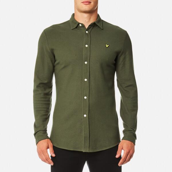 Lyle & Scott Men's Honeycomb Jersey Shirt - Olive