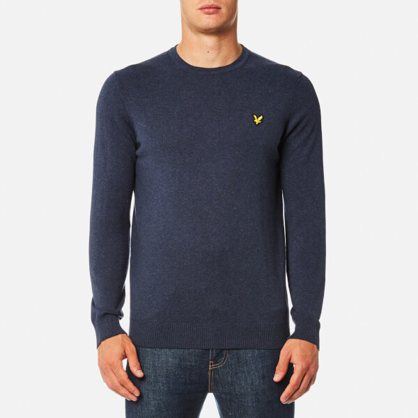 Lyle & Scott Men's Crew Neck Cotton Merino Jumper - Ink Blue Marl