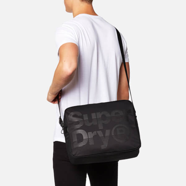 8812d997cf Superdry Men s Premium Lineman Messenger Bag - Black Black Clothing ...