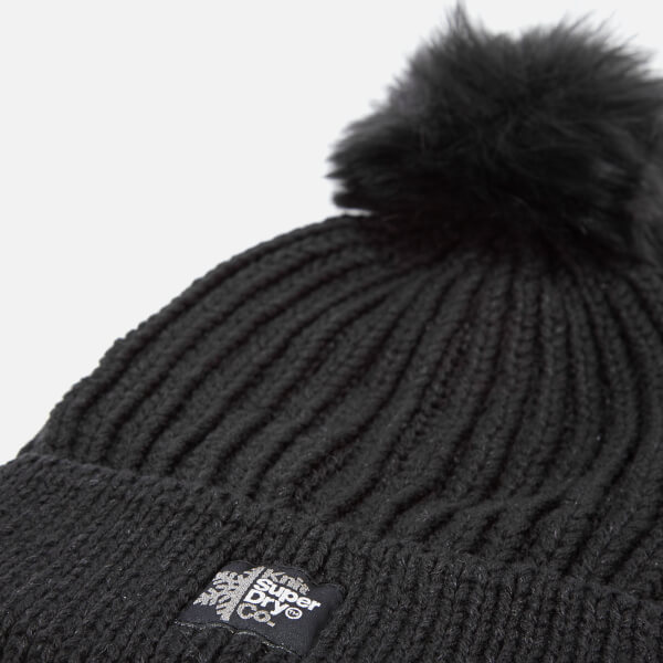 fd5e6547016 Superdry Women s Aries Sparkle Bobble Hat - Black Clothing