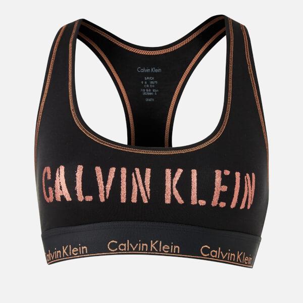 1efb1bc9ff4a5 Calvin Klein Women s Unlined Bralette - Black Rose Gold  Image 1