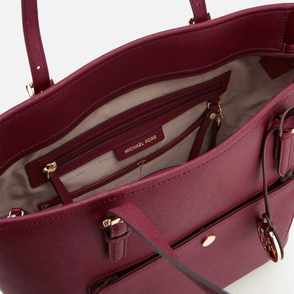 37148e08319e09 MICHAEL MICHAEL KORS Women's Jet Set Large Top Zip Pocket Tote Bag -  Mulberry: Image