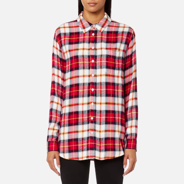 Joules Women's Laurel Long Line Shirt - Red Check
