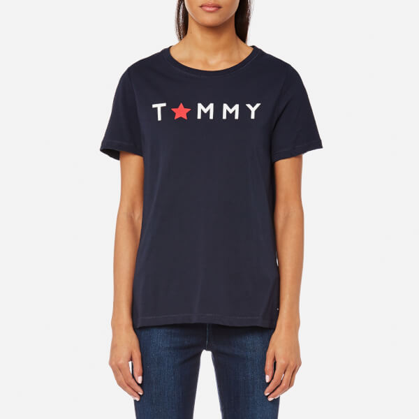 82497ca65bd4d Tommy Hilfiger Women s Star Graphic Crew Neck T-Shirt - Navy Womens ...