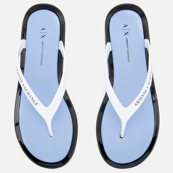 Armani Exchange Women's PVC Flip Flops - Obsidian/Serenity/White
