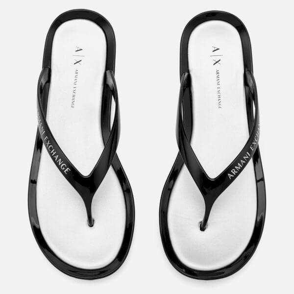 Armani Exchange Women's PVC Flip Flops - Nero/Argento