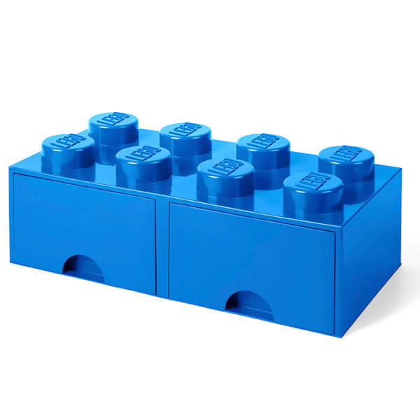 LEGO Storage 8 Knob Brick   2 Drawers (Bright Blue)