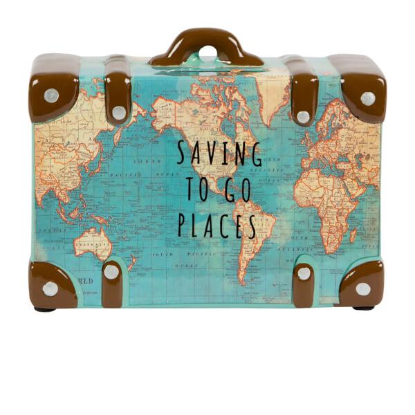 Sass Belle Saving To Go Places Vintage Map Money Pot Homeware