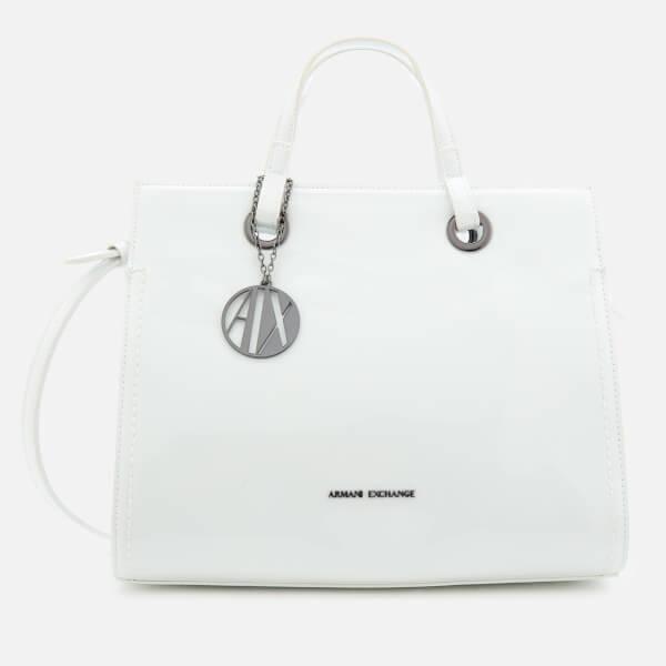 armani exchange women's structured patent tote bag - white