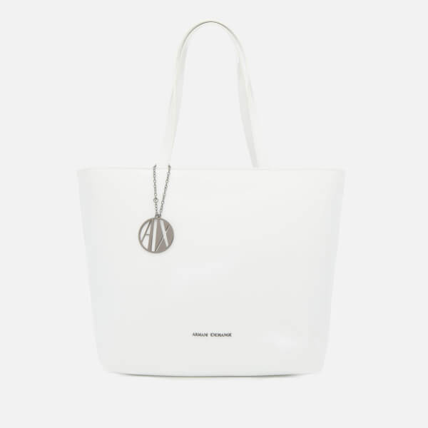 ed7d1a92f9ff Armani Exchange Women s Patent Tote Bag - White  Image 1