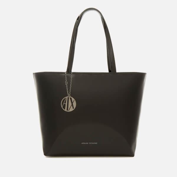 armani exchange women's patent tote bag - black