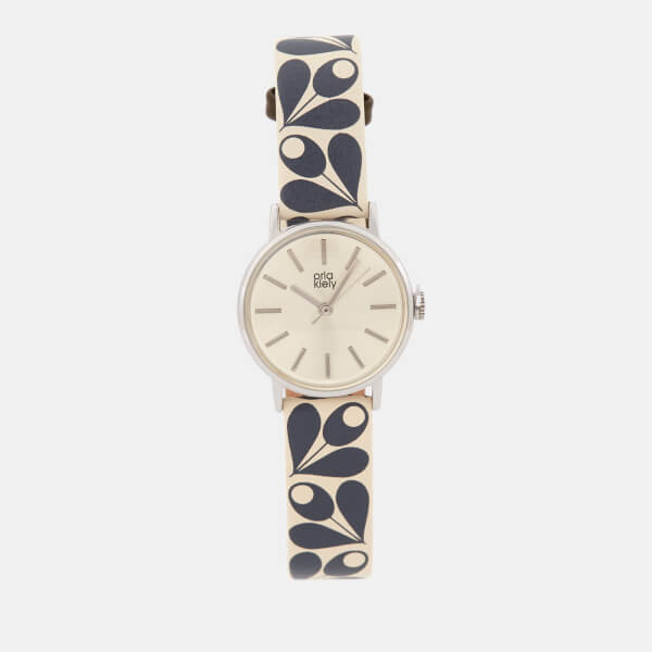 Orla Kiely Women's Patricia Print Leather Watch - Navy