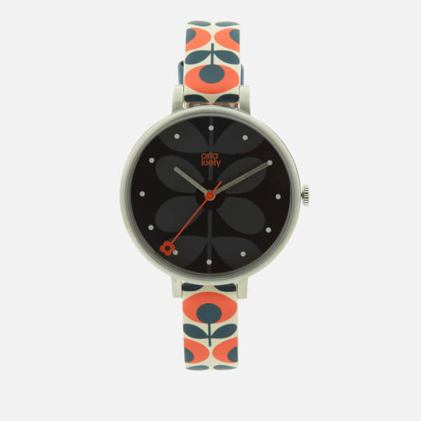 Orla Kiely Women's Ivy Print Leather Watch - Navy/Orange