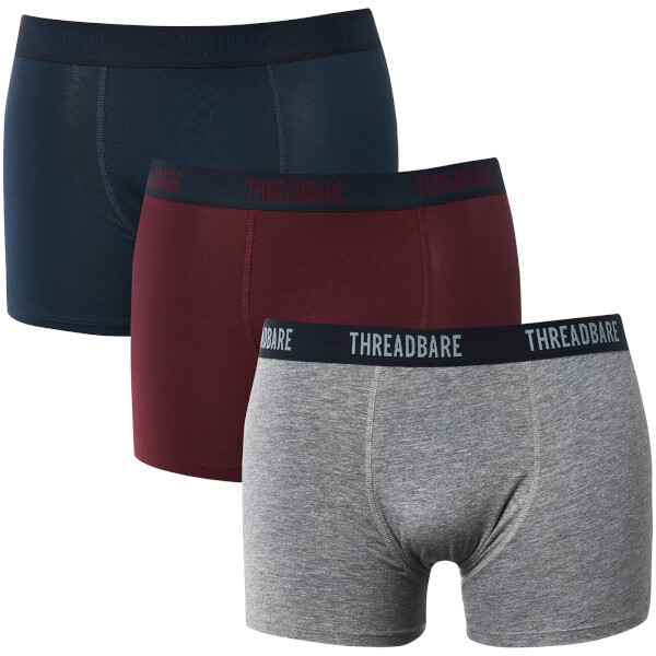 Threadbare Men's Acton 3 Pack Boxers - Navy/Burgundy