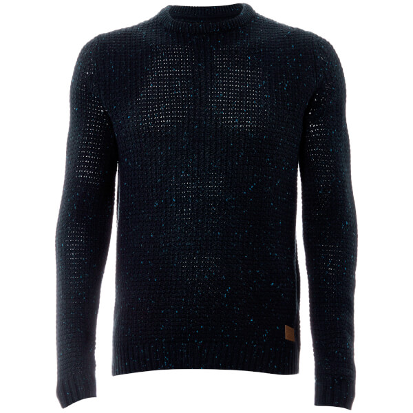 Threadbare Men's Copenhagen Chunky Crew Neck Jumper - Navy Nep