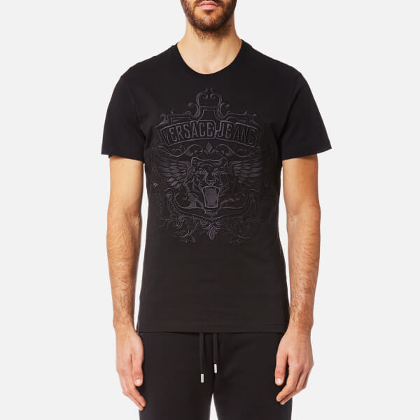 61a5d1683751 Versace Jeans Men s Embroidered Tiger Logo T-Shirt - Nero Clothing ...