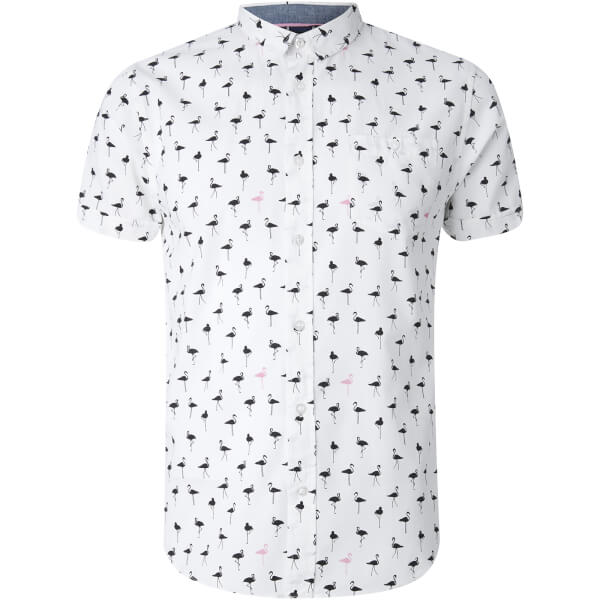 Brave Soul Men's Braun Bird Print Short Sleeve Shirt - White