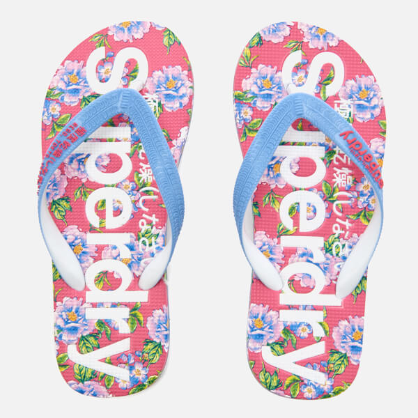 fcb93942bab057 Superdry Women s All Over Print Flip Flops - Optic Air Blue Fluro Pink