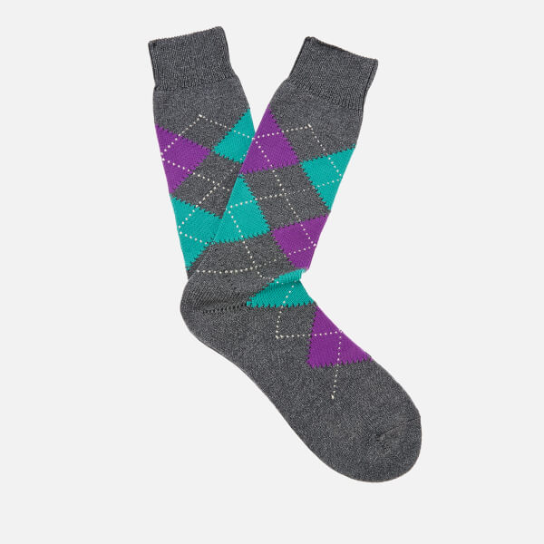 Pantherella Men's Turnmill Egyption Cotton Argyle Socks - Dark Grey Mix
