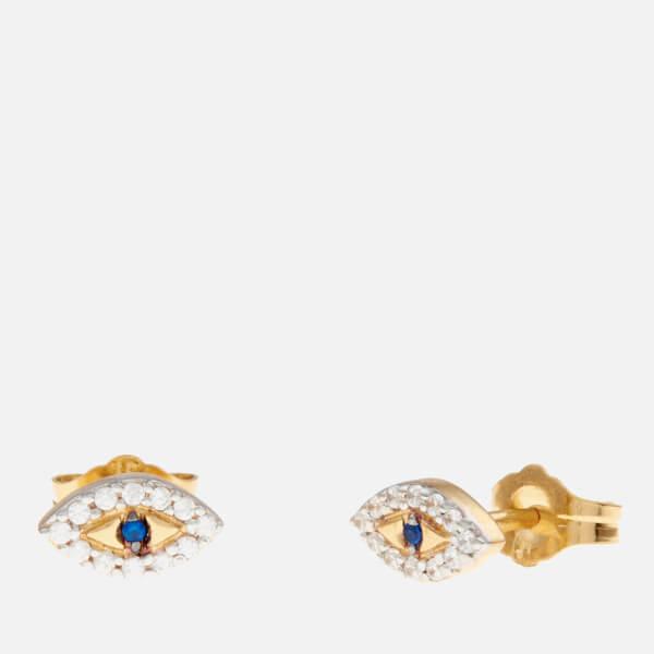 Missoma Women's Evil Eye Studs - Blue/Gold