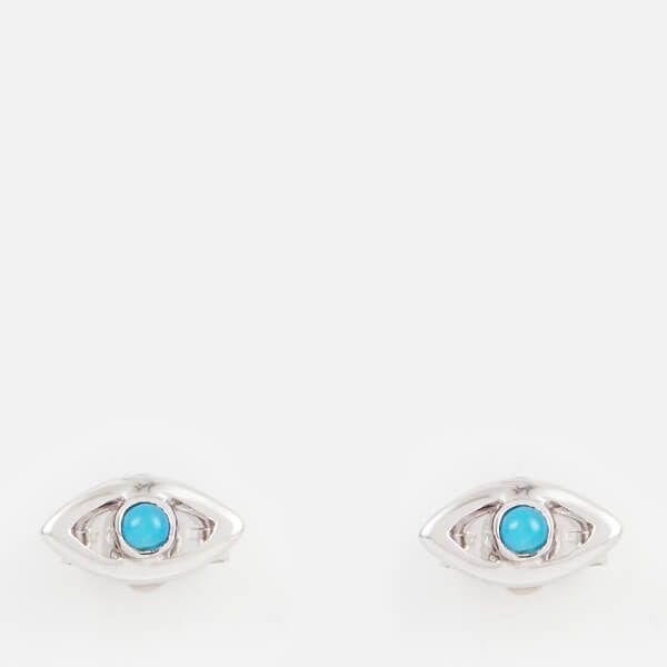 Missoma Women's Silver Evil Eye Turquoise Studs - Silver