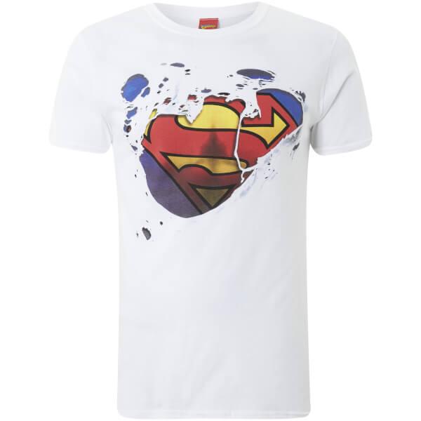 DC Comics Men's Superman Torn T-Shirt - White