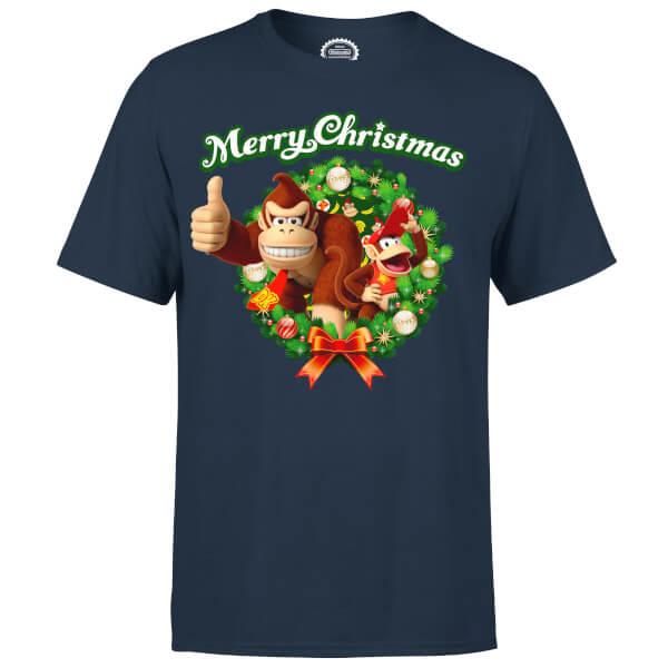 Nintendo® Donkey Kong Diddy Kong Merry Christmas Wreath Thumbs Up T-Shirt - Navy