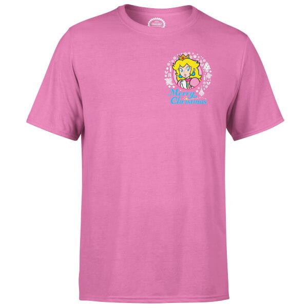 Nintendo Super Mario Peach Merry Christmas Pocket Wreath Pink T-Shirt