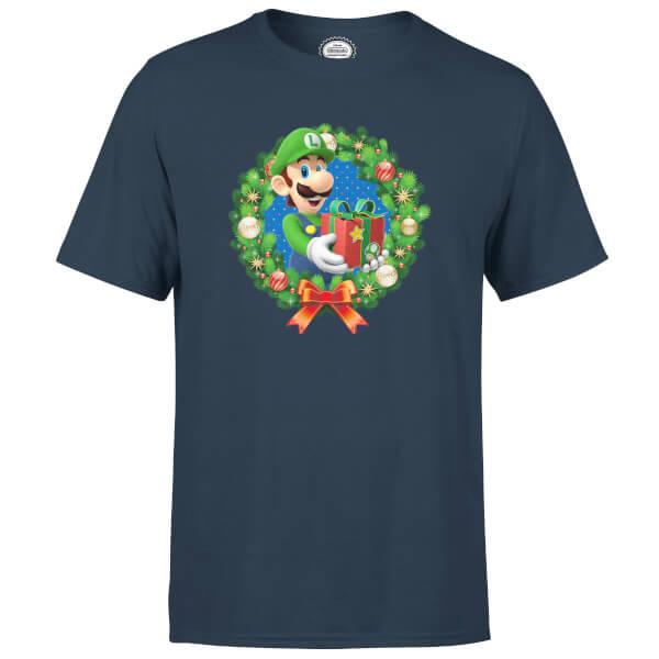 Nintendo Super Mario Luigi Christmas Present Wreath Navy T-Shirt