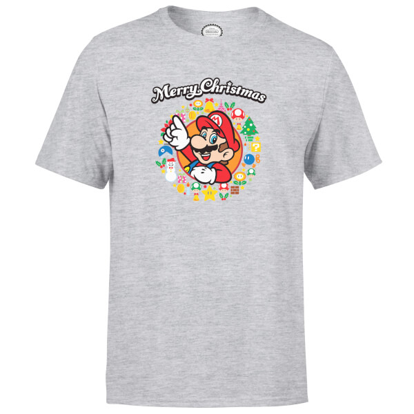 Nintendo Super Mario Mario Merry Christmas Wreath Grey T-Shirt