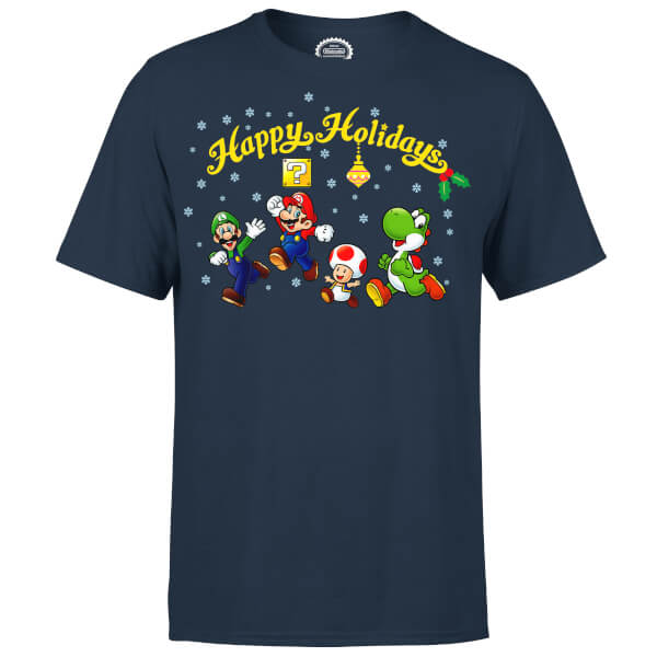 Nintendo Super Mario Good Guys Happy Holidays Navy T-Shirt